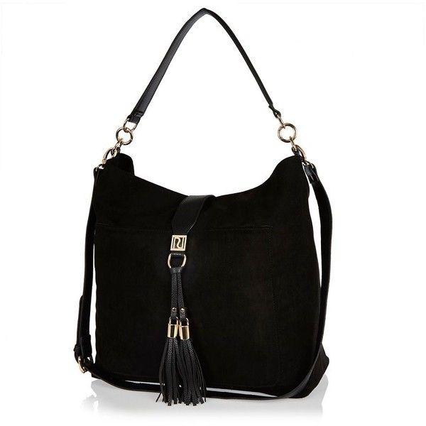 River Island Black Tassel Oversized Slouchy Handbag 265 Sar Liked On Polyvore Featuring