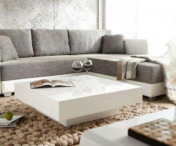couchtisch magica 90x90 cm weiss hochglanz mit tablett white is the new black pinterest. Black Bedroom Furniture Sets. Home Design Ideas