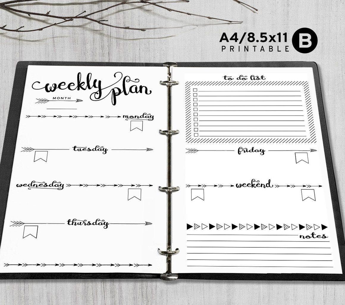 Printable Arrows A5 Weekly Planner Inserts, A5 Binder ...