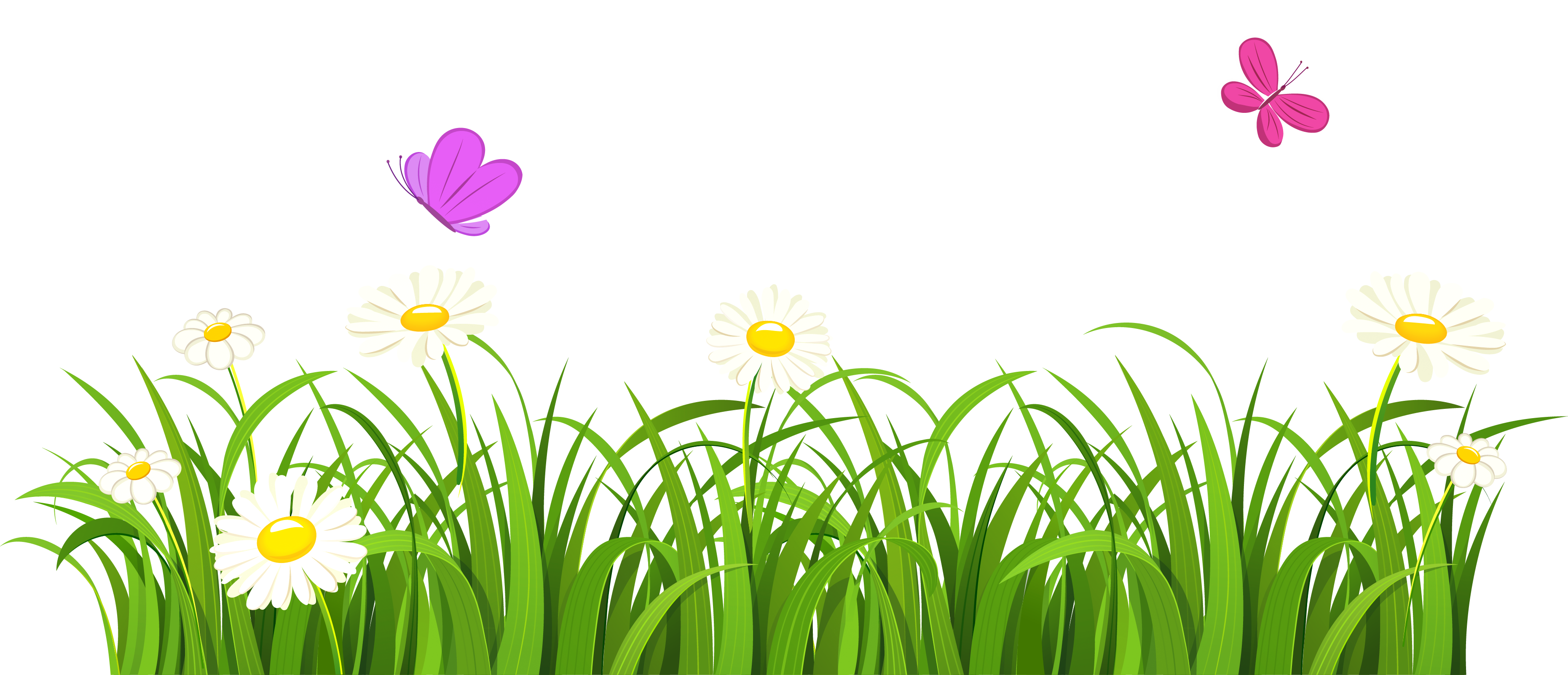 Grass And Butterflies Png Clipart In Grass Background Clipart Png