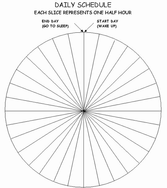 Time Management Pie Chart Elegant Blank Daily Schedule