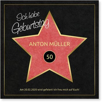 Einladungskarten 50. Geburtstag, Hollywood Star