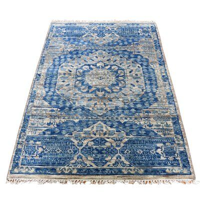 Canora Grey One Of A Kind Kayleigh Mamluk Design Hand Knotted 3 1 X 5 1 Wool Blue Area Rug Oriental Wool Rugs Area Rugs Rugs