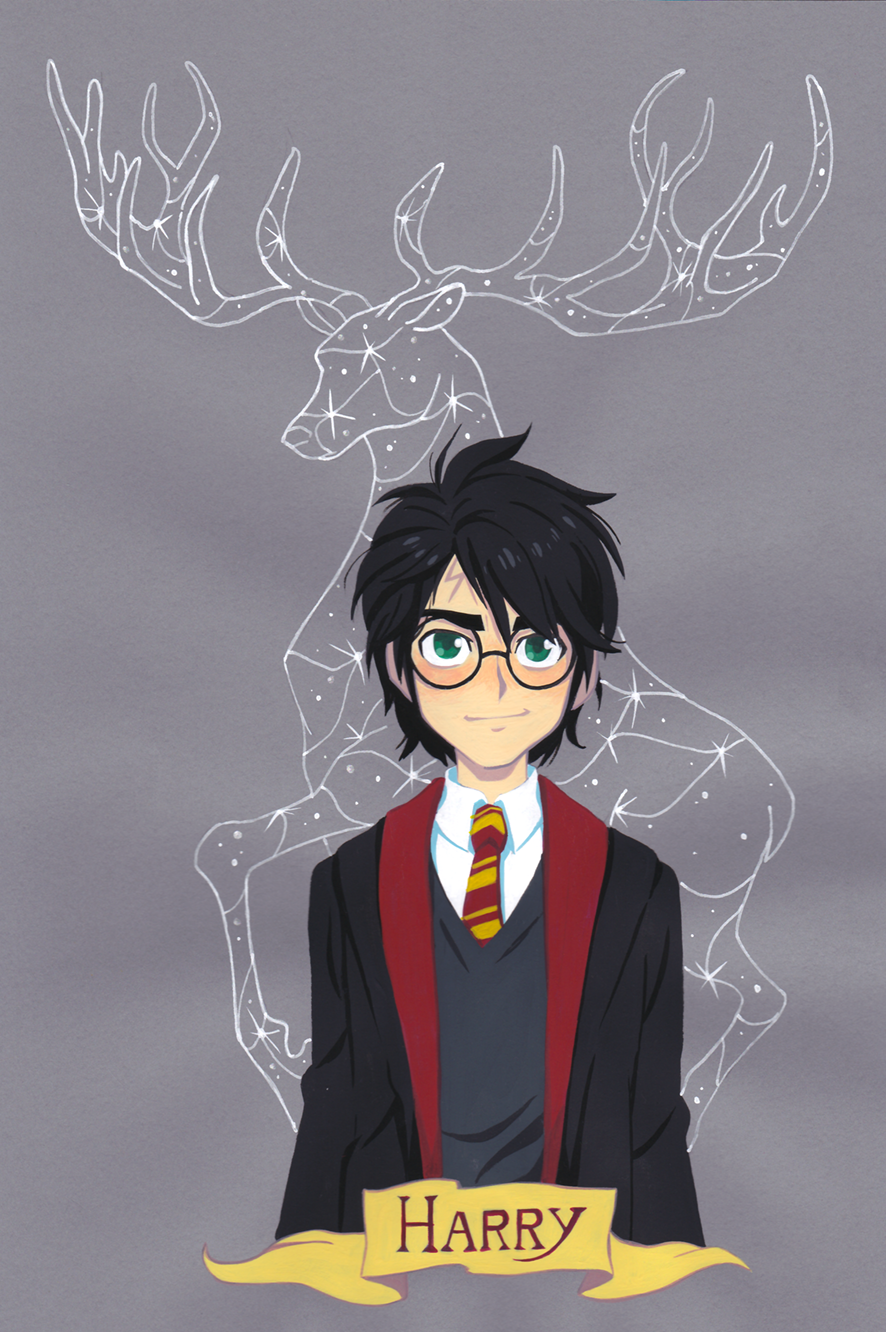 Harry Potter Gouache Painting On Colored Paper Anime