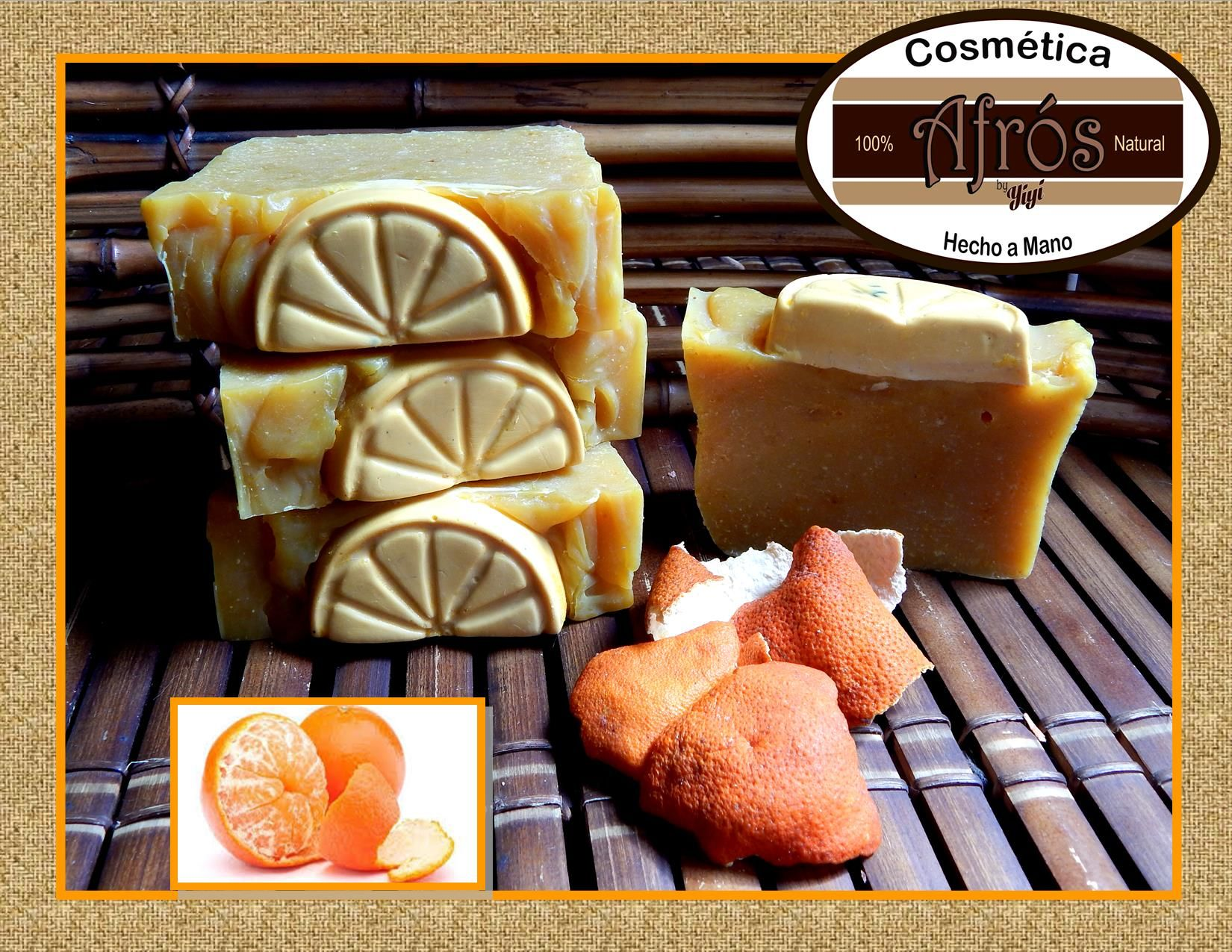 Jabón de Mandarina Propiedades: antiséptico,tonificante, es calmante y relajante, ideal para pieles grasas,mixtas o pieles adolescentes.