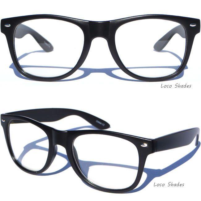 0a4be2576bb Matte Black Frame Clear Lens Glasses Retro Classic Horn Rim Design Nerd  Hipster