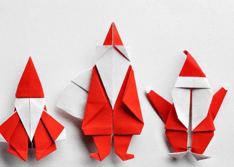 origami de no l 6 id es avec des instructions de pliage papier blanc origami et p re no l. Black Bedroom Furniture Sets. Home Design Ideas
