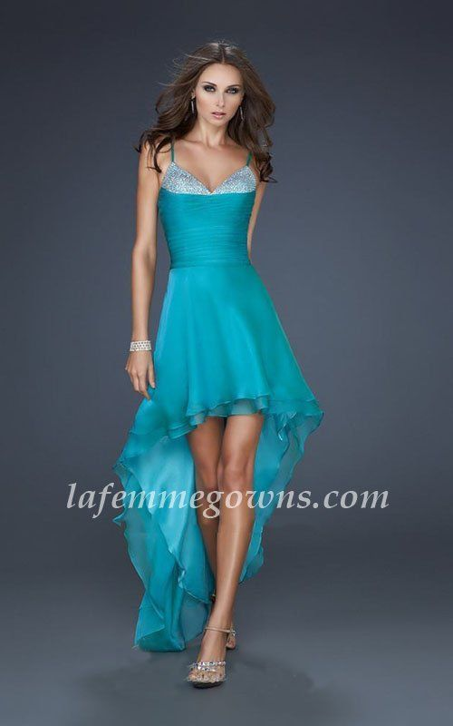 Formal Peacock Spaghetti Strap High-Low Homecoming La Femme 17141 Dress