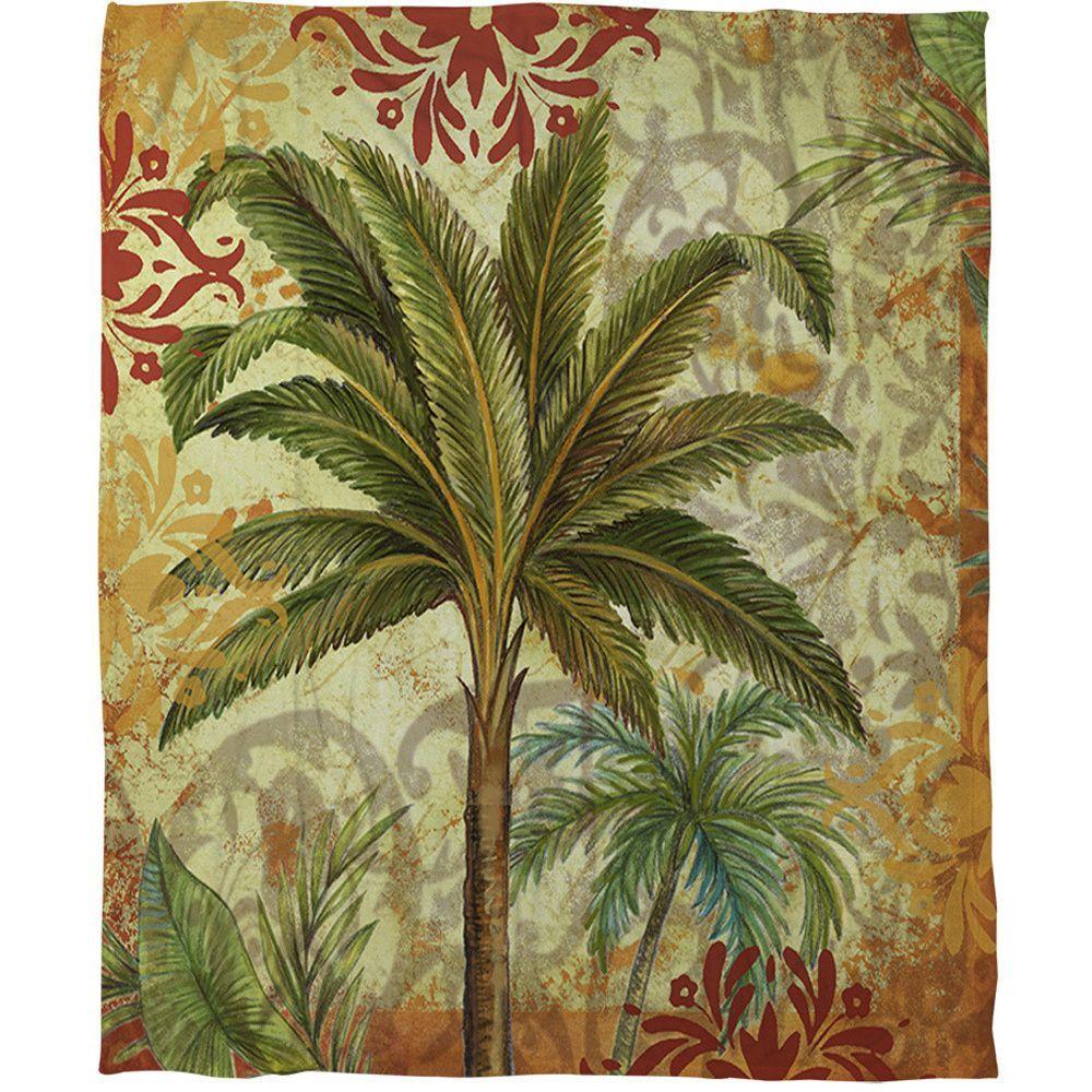 Thumbprintz Palms Green Coral Fleece Throw