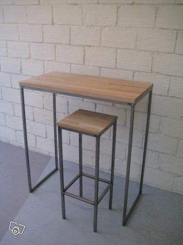 table bar sur mesure industriel madinpariss ameublement paris leboncoinfr - Table Bar Industriel