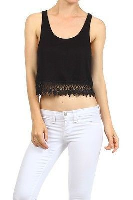 1cdce5a2a1829 Sexy Solid Colors Front Crochet Lace Trim Racer Back Cropped Tank Top Shirt