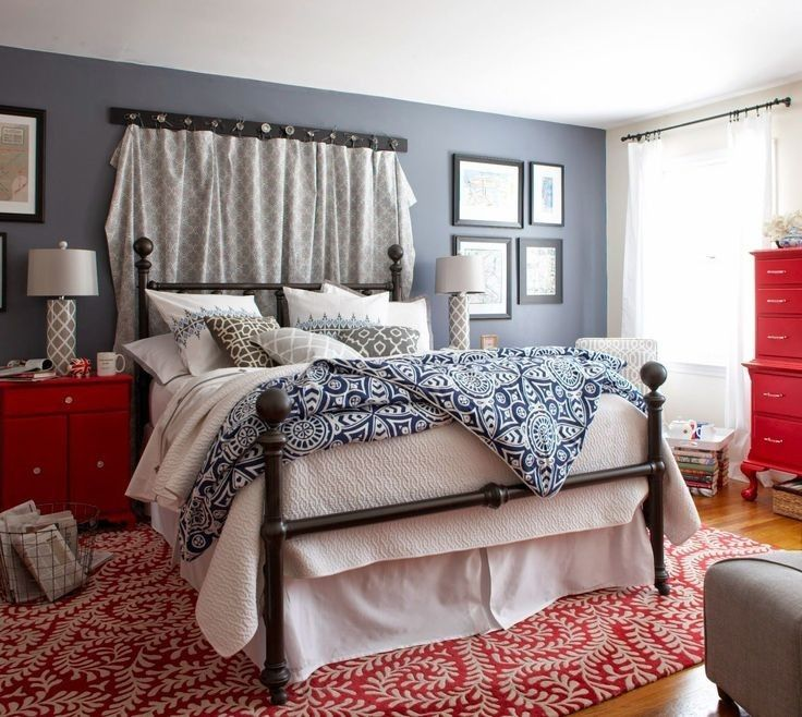 #graybedroomwithpopofcolor