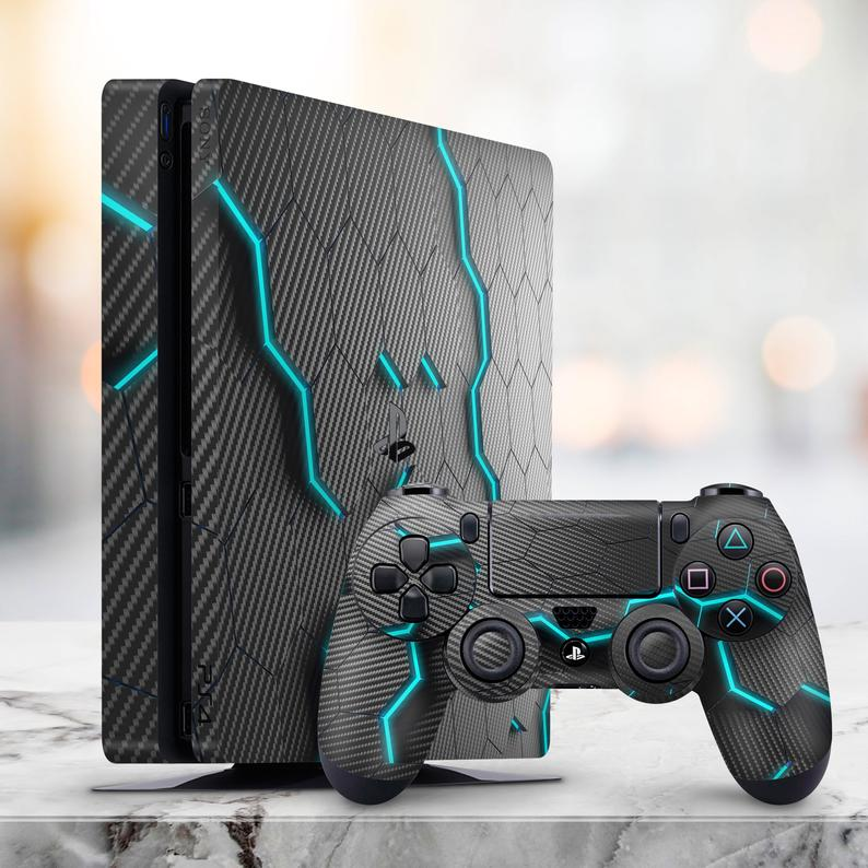 PS5 Skin Grey Carbon PS4 Skin Abstract PS4 Skin PS4 Gamer Skin Dualshock 4 Playstation Fat PS4 Pro Skin PS4 Fat Decal Sticker wrap PS4 Fat