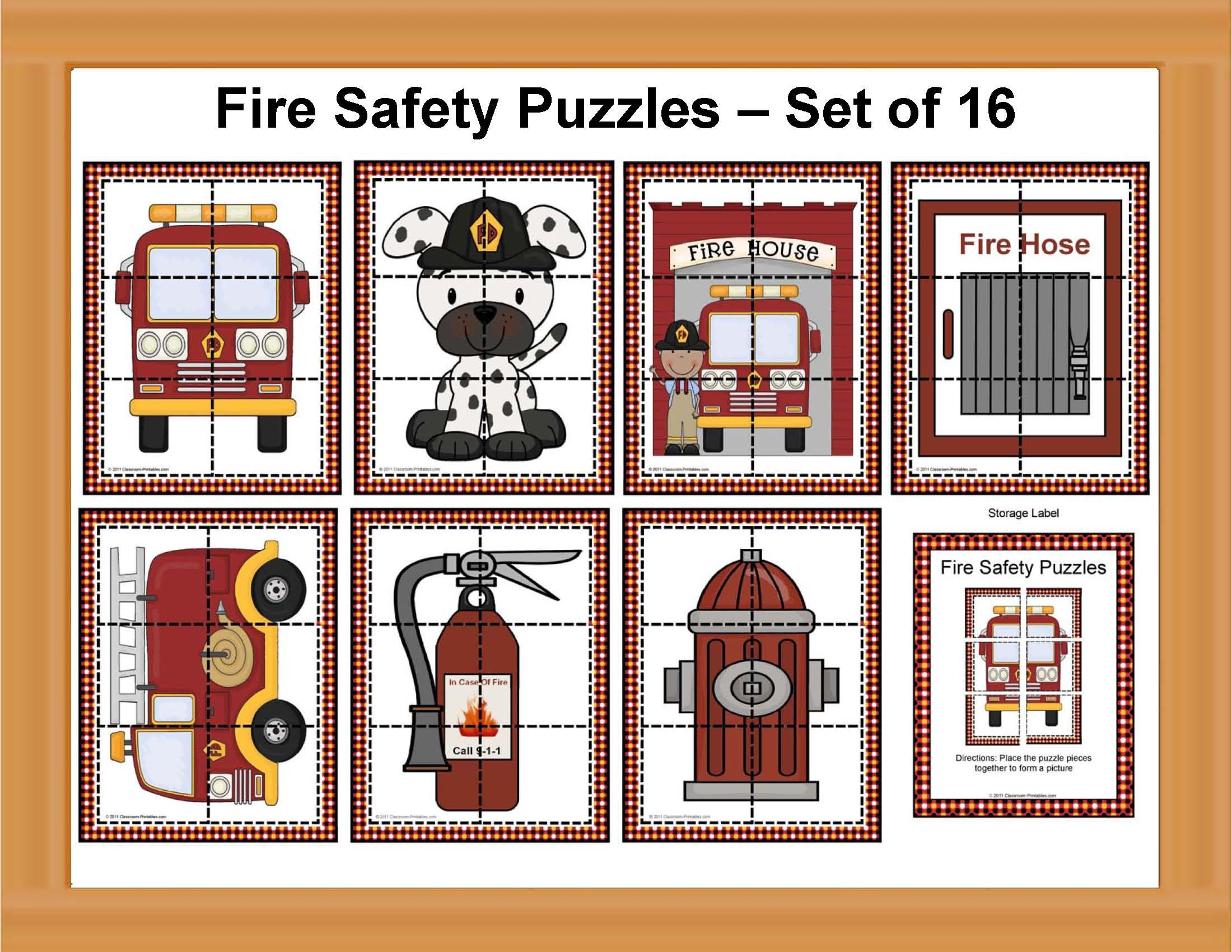 Fire Safety Puzzle Set Set Of 16 With Images