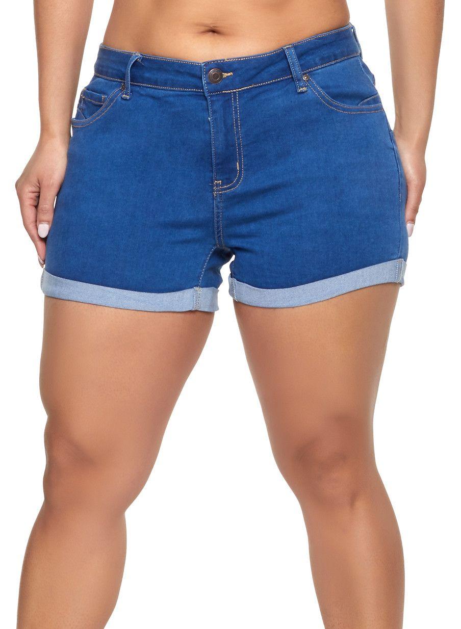 c1f3034a15 Plus Size WAX Fixed Cuff Denim Shorts - Blue - Size 1X in 2019 ...