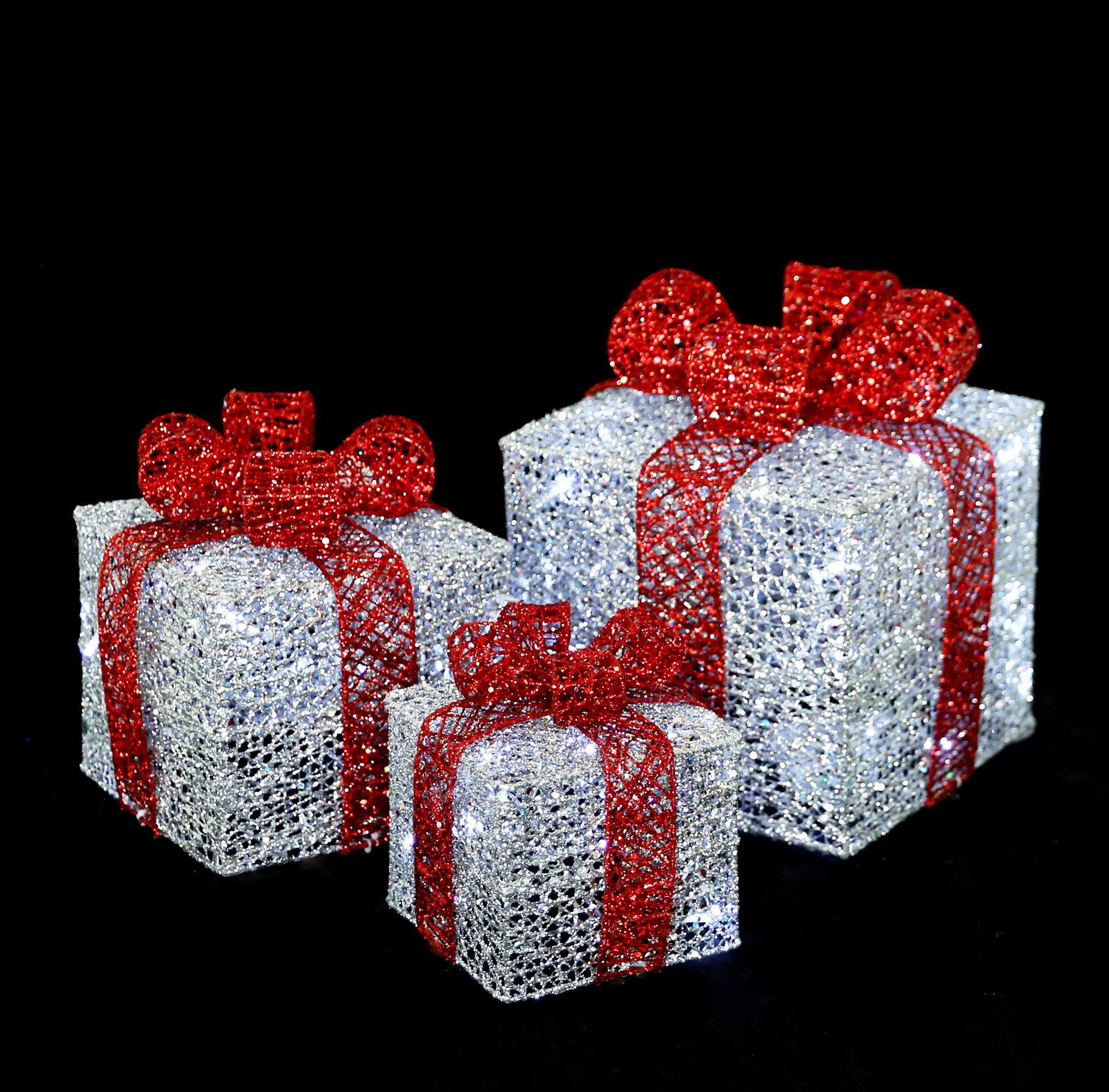LED Lighted prelit Christmas presents Gift Boxes