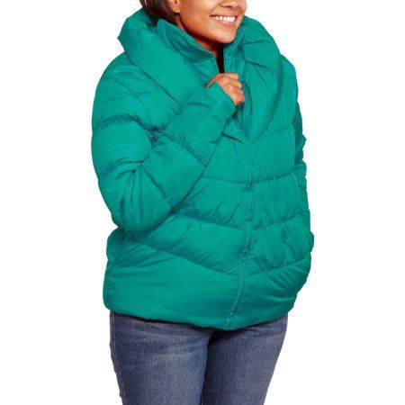 ed87ab912daf5 Climate Concepts Women s Plus-Size Puffer Coat with Shawl Collar ...