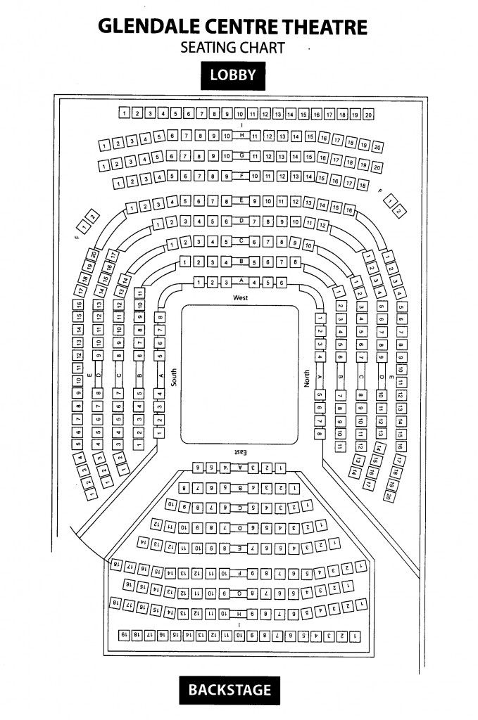 Glendale Centre Theatre Seating Chart -- THEATER IN THE ROUND Set