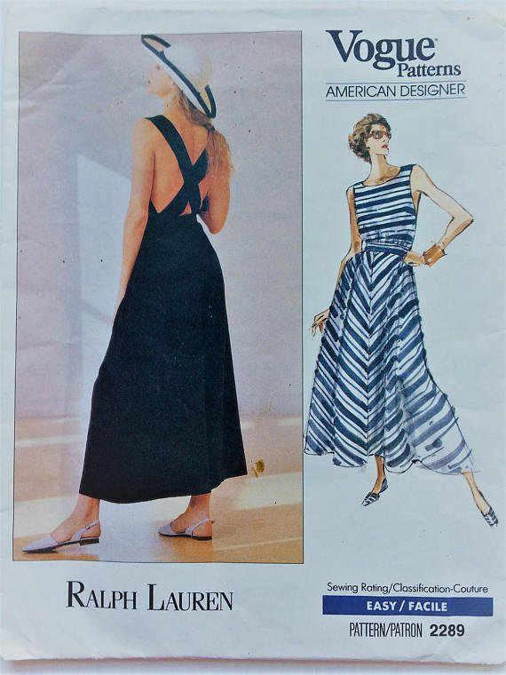Vintage Ralph Lauren Vogue American Designer Sewing Pattern Etsy Sundress Pattern Backless Dress Summer Evening Dress Patterns