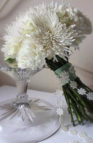 Somethings Different - Full Chrysanthemum Bouquet in White ...