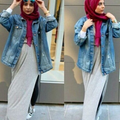 How To Wear The Oversized Jean Jackets With Hijab Just Trendy