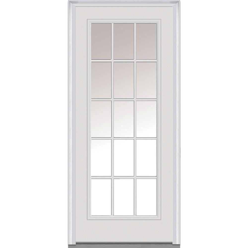 Mmi Door 36 In X 80 In Severe Weather Internal Grilles Left Hand Full Lite Clear Primed Fiberglass Smooth Prehung Front Door Z020356l Exterior Doors With Glass Single Doors Prehung Doors
