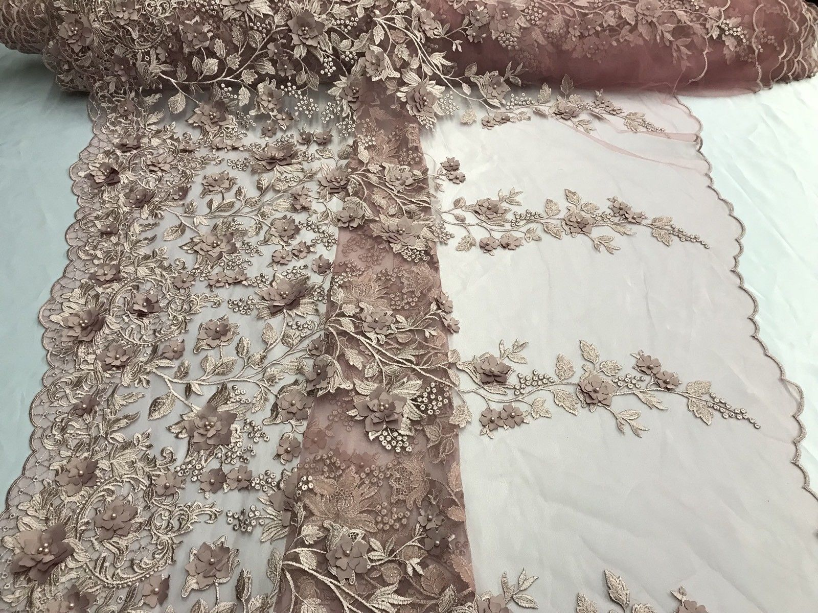 Lace Fabric Embroidered Mesh Taupe Bridal Flower//Floral Wedding By The Yard