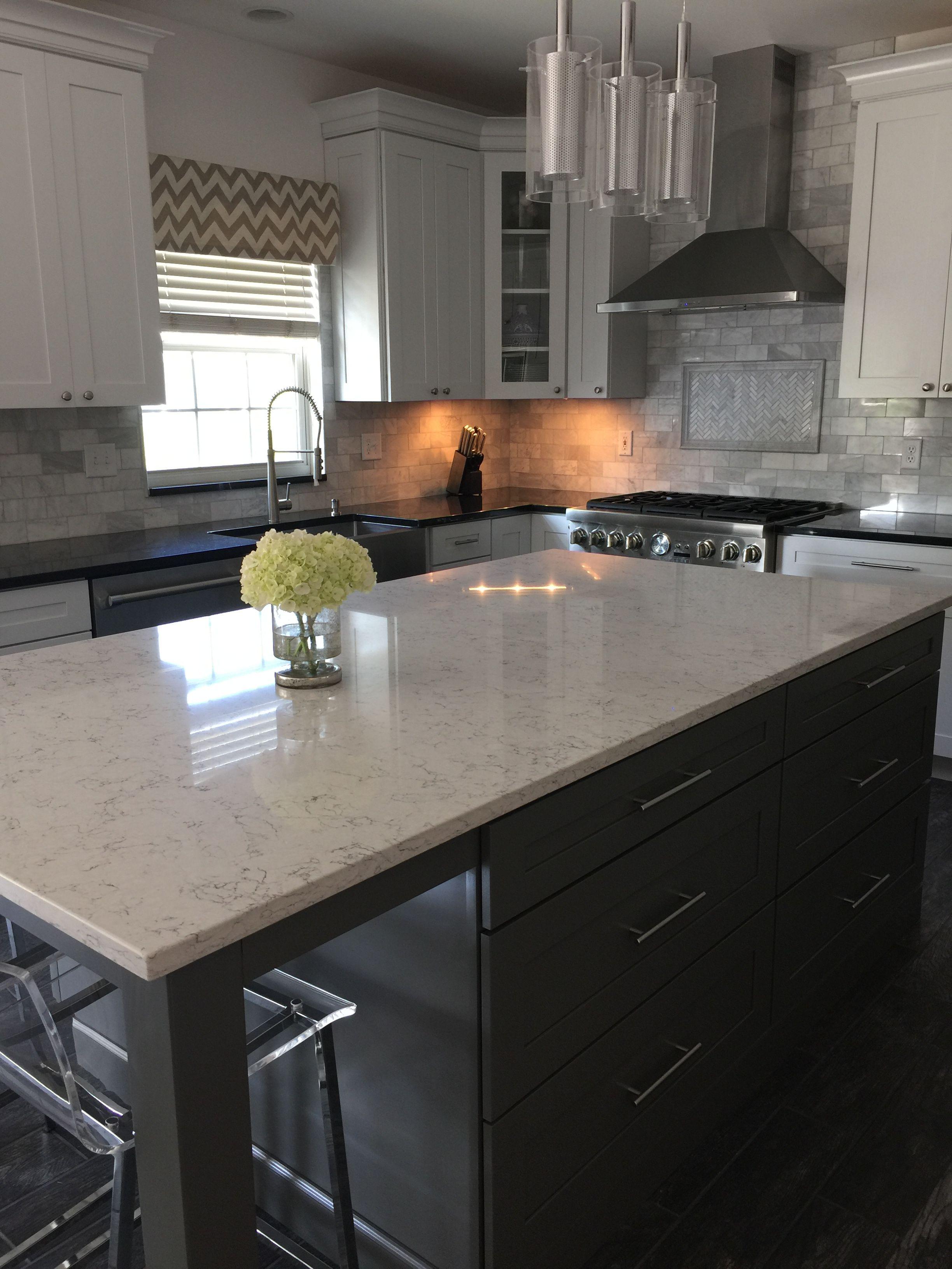 White arabesque quartz island Kitchen remodel, Kitchen