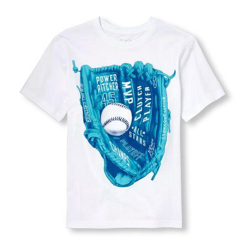 s Boys Short Sleeve \'Power Pitcher\' Baseball Mitt Graphic Tee ...