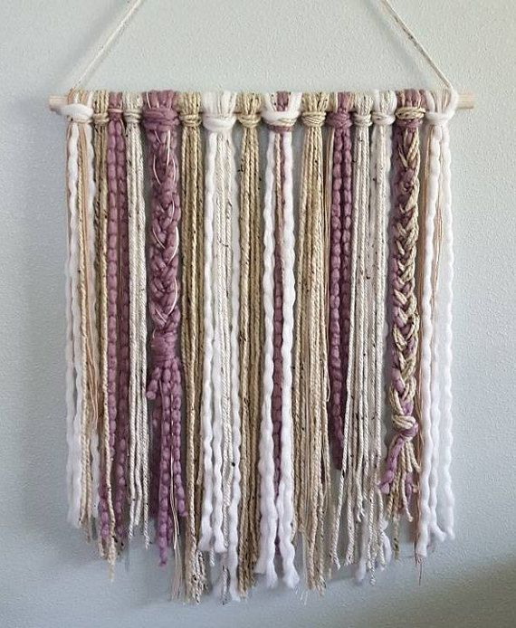 Boho Wall Hanging in Frosted Plum, White, Cream and Oatmeal Yarn   Boho Nursery   Minimalist Decor   Boho Chic   Nursery Decor   Wall Decor is part of Macrame diy - Wall Hanging in Frosted Plum, White, Aqua, Cream and Oatmeal Yarn  Add the perfect amount of boho chic decor with one of these yarn wall hangings! Simply choose from the drop down menu whether you want 12  width or 24   The picture you see will not be the item you will receive  Due to the fact that each item is handcrafted, products can vary slightly  We love custom orders! Message us your thoughts and colors you'd like to have and we will make it!