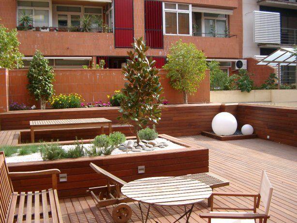 Decoración de terrazas y patios con madera para exterior   jardín ...