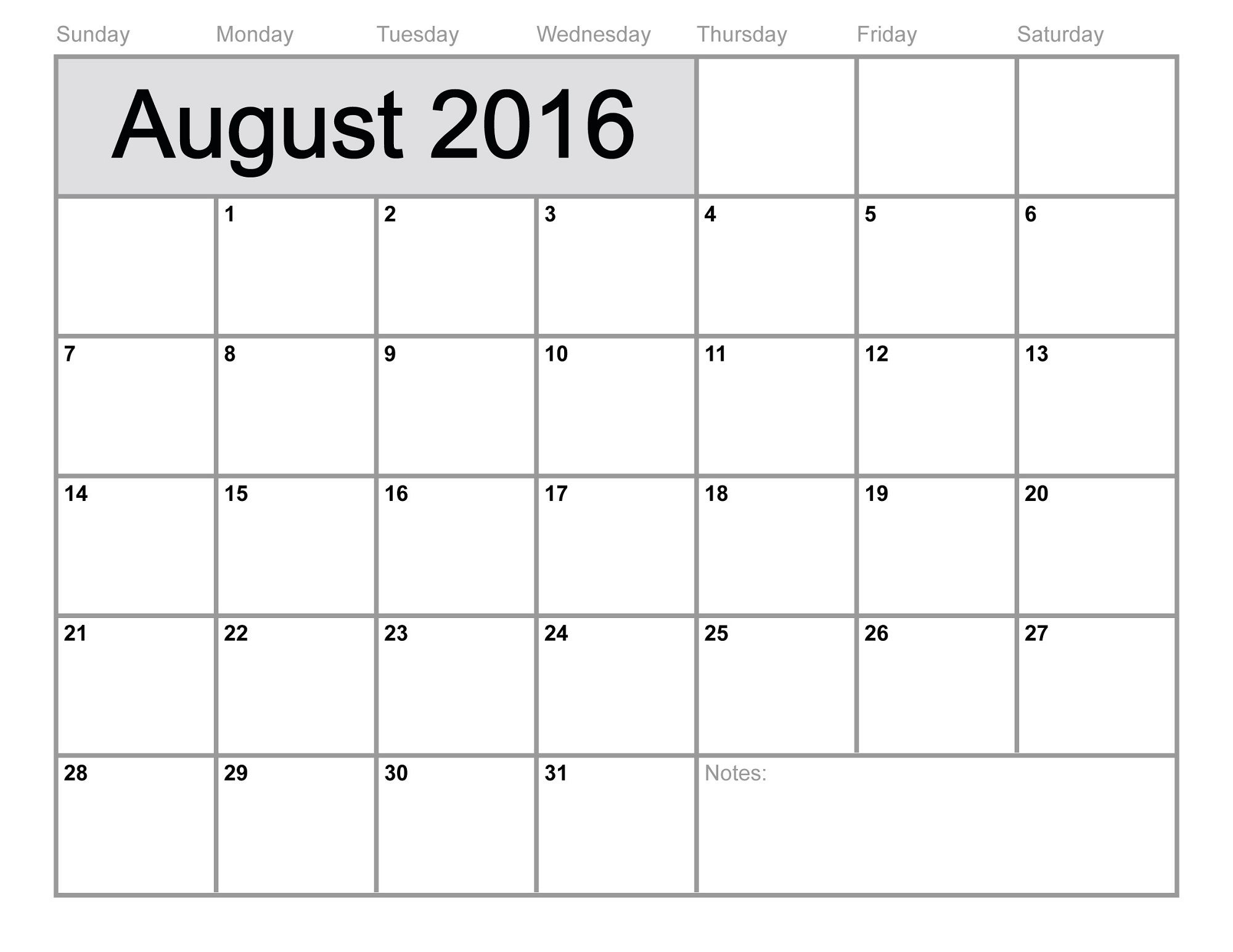 2016 Monthly Calendar Printable Activity Shelter