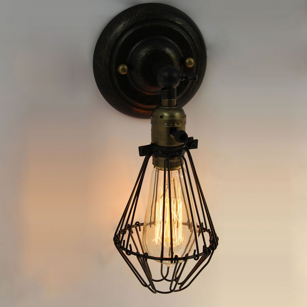 Vintage Industrial Antique Metal Cage Wall Light Factory Wire Steel Lighting Fix