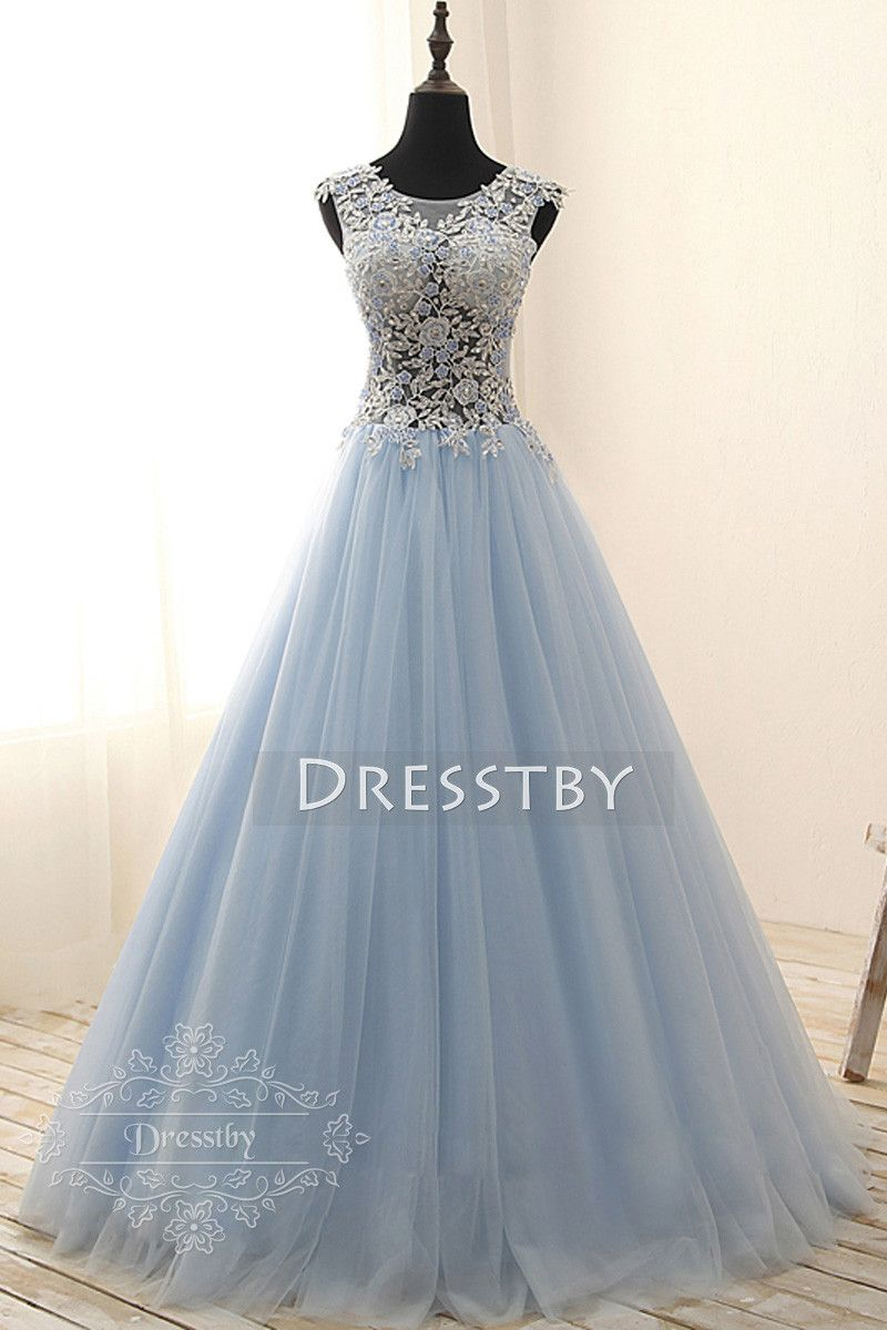 206179446e5 Light blue round neck tulle lace applique long prom gown