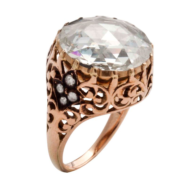 1stdibs | Gold and diamonds, with a big central rose italian ring
