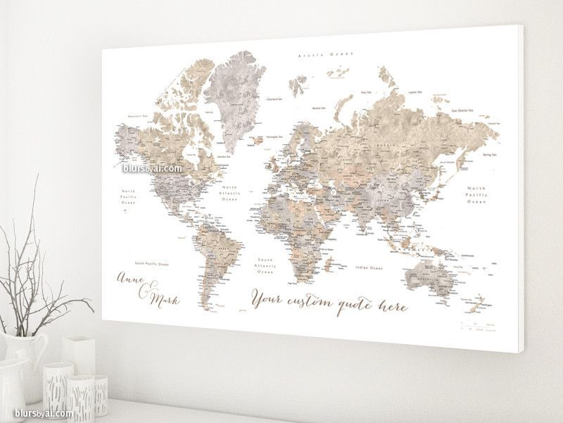 Custom quote earth tones watercolor printable world map with custom quote world map canvas print world map with cities in neutrals watercolor effect gumiabroncs Images