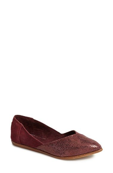 TOMS 'Jutti' Crackled Leather & Suede Flat (Women) available at #Nordstrom