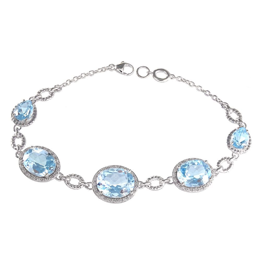 K white gold blue topaz and ct tdw diamond bracelet ij si