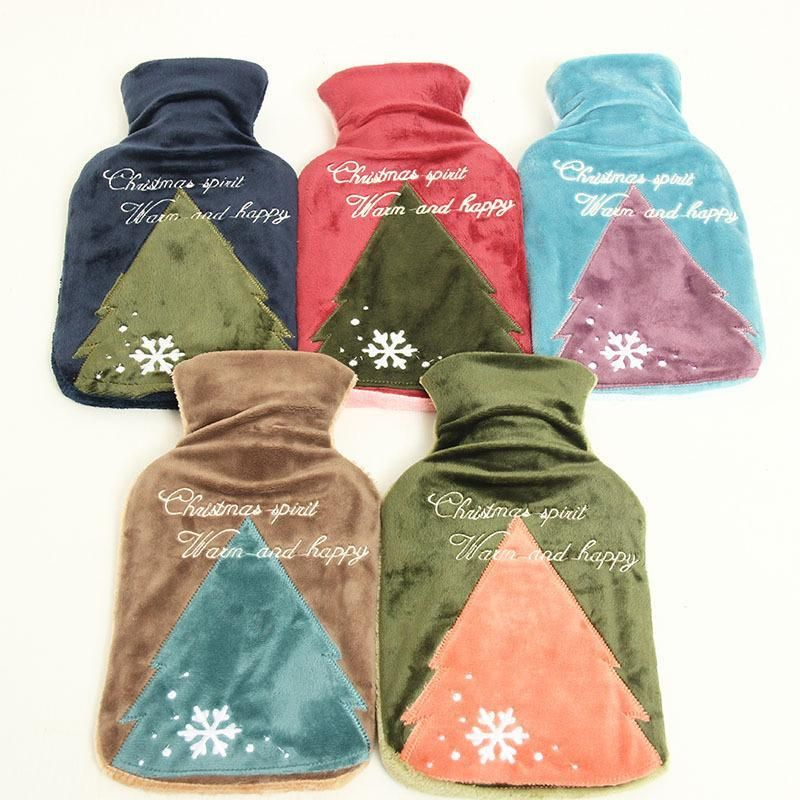 Christmas Tree Corduroy Cover Hot Water Bottle Heaters Pocket Hand ...