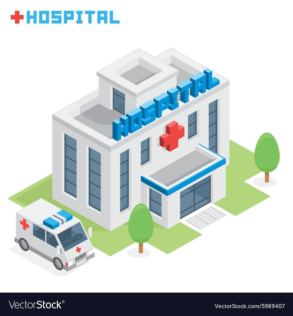 Hospital building Royalty Free Vector Image VectorStock