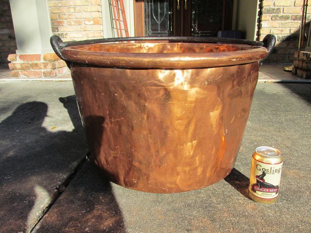 Antique Large Copper Cauldron Pot Kettle Apple Butter Handcrafted Dovetail  Rare