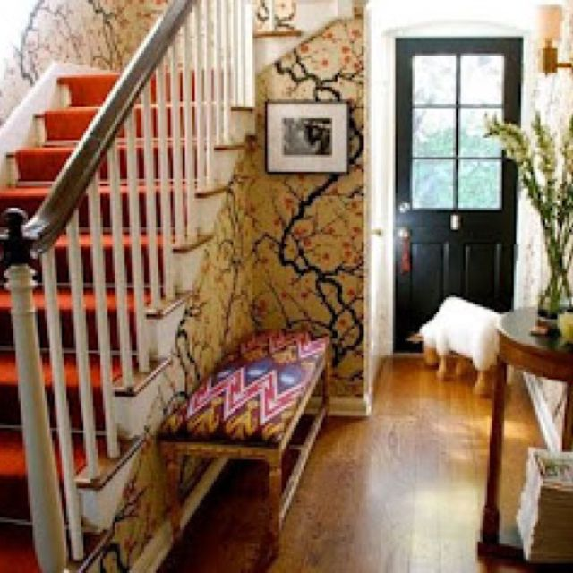 Carpet Stairs & Black Door