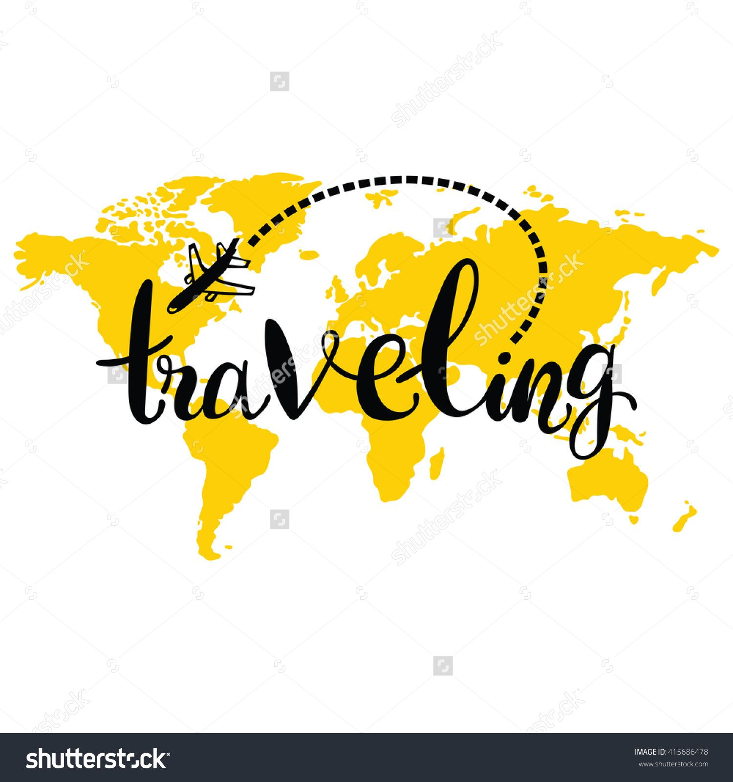 Traveling world map airplane isolated vector object on white world map airplane isolated vector object on white background lettering gumiabroncs Gallery