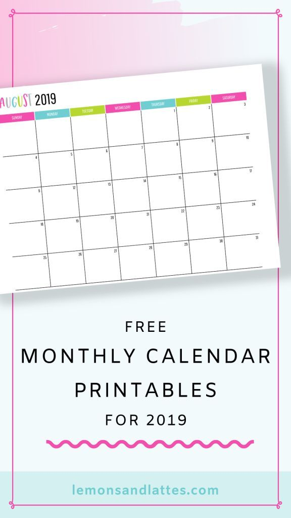 Free Printable Calendars 2020 (with dates) Free