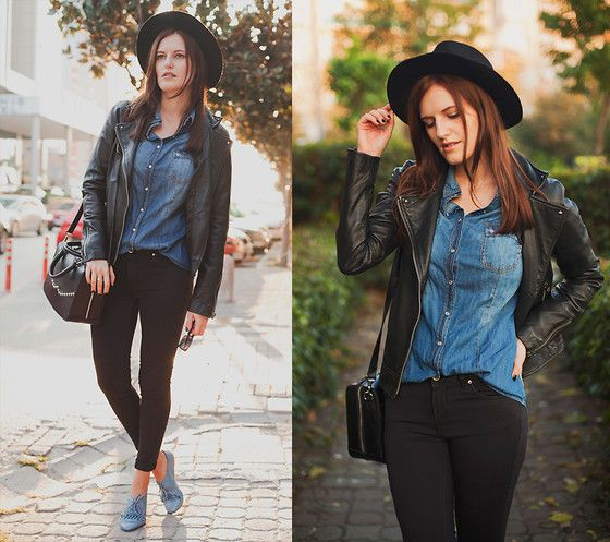 Zara Fedora Hat, Mango Leather Jacket, Stradivarius Denim Shirt ...