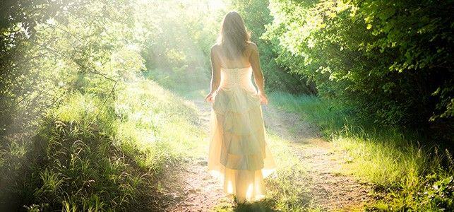 Woman walking in the sun