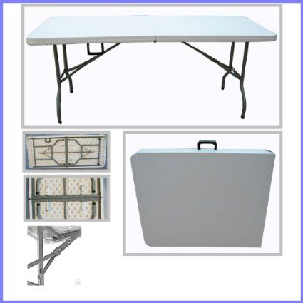 Folding Tables UK Rectangular Plastic Top Fold in Half Table 6-Foot 400 Kg Load Capacity with Steel Securing Pins