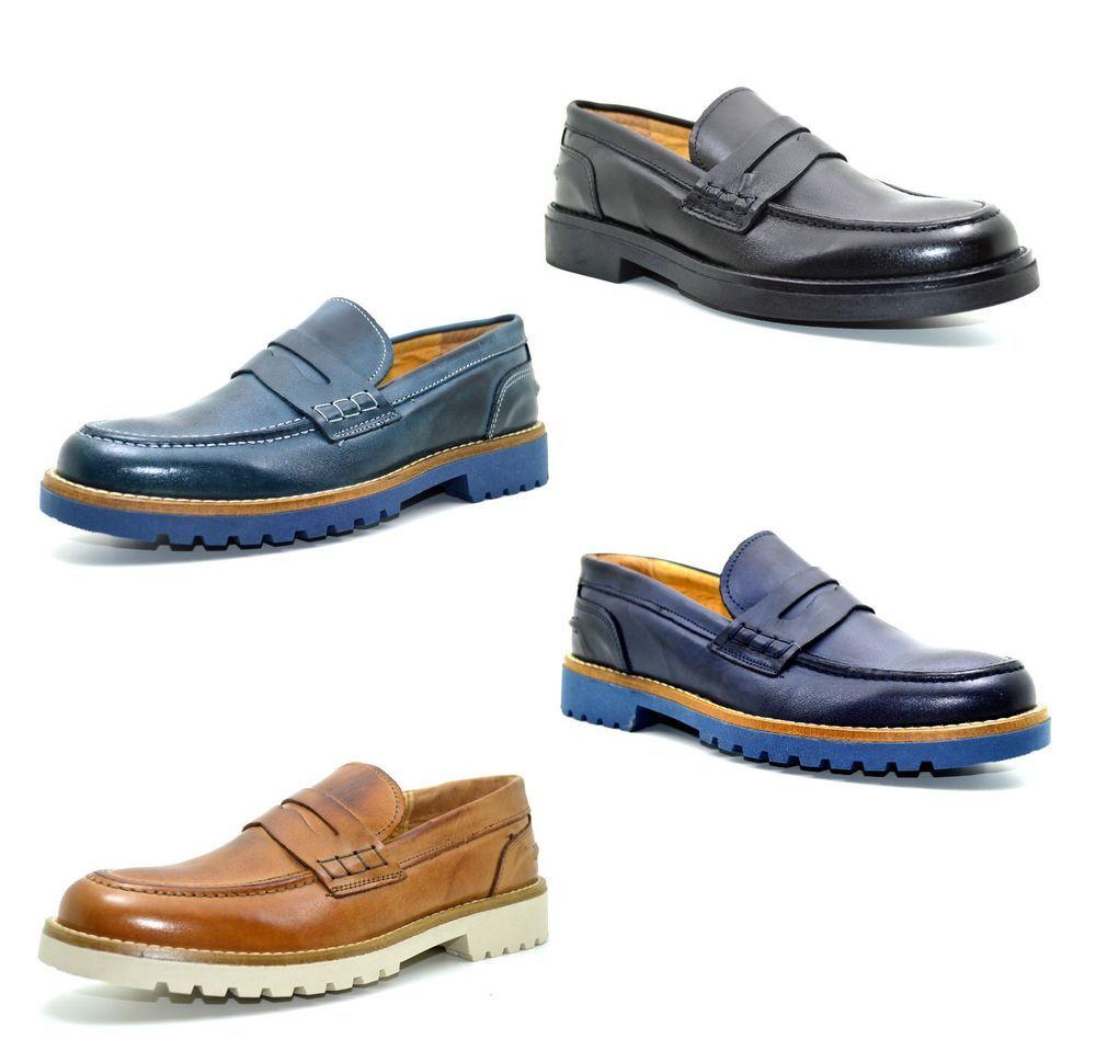 Dettagli su Mocassini uomo artigianali vera pelle scarpe