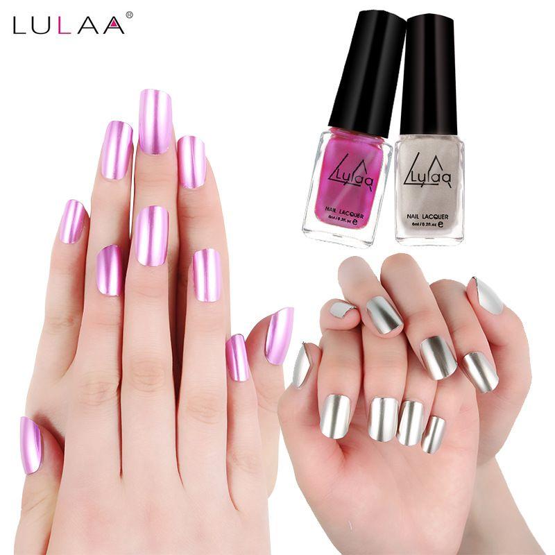 6ml Professional Safe Non Toxic Long Lasting Nail Polish 5 Colors Brand Soak Off Metallic Mirror Nails Gel Polis Nail Polish Painting Gel Nail Art Nail Art Diy