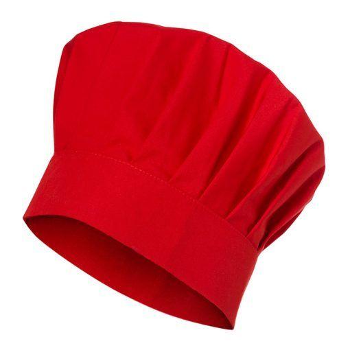 Gorro de cocina tipo seta. Trincha lisa de 6 cm. Diámetro de 30 cm.  Ajustable con velcro. De color rojo pasión.  gorro  seta  cocinero  rojo   moderno   ... e09e53e89ab